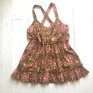 NWT MATILDA JANE Floral Sleeveless Ruffle Top SM